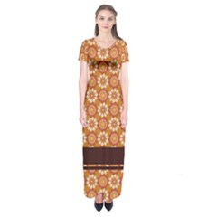 Floral Seamless Pattern Vector Short Sleeve Maxi Dress