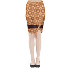 Floral Seamless Pattern Vector Midi Wrap Pencil Skirt