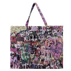 Graffiti Wall Pattern Background Zipper Large Tote Bag by Nexatart