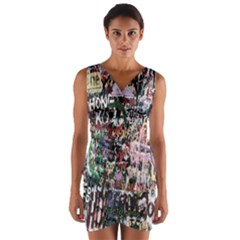 Graffiti Wall Pattern Background Wrap Front Bodycon Dress