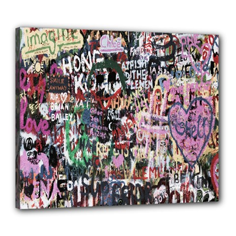 Graffiti Wall Pattern Background Canvas 24  X 20