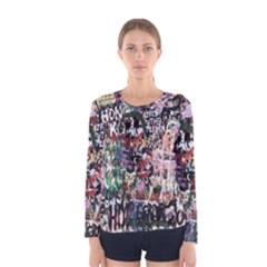 Graffiti Wall Pattern Background Women s Long Sleeve Tee