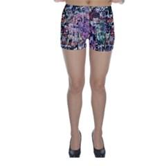 Graffiti Wall Pattern Background Skinny Shorts