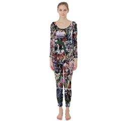 Graffiti Wall Pattern Background Long Sleeve Catsuit