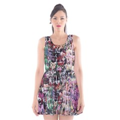 Graffiti Wall Pattern Background Scoop Neck Skater Dress