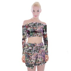Graffiti Wall Pattern Background Off Shoulder Top With Skirt Set