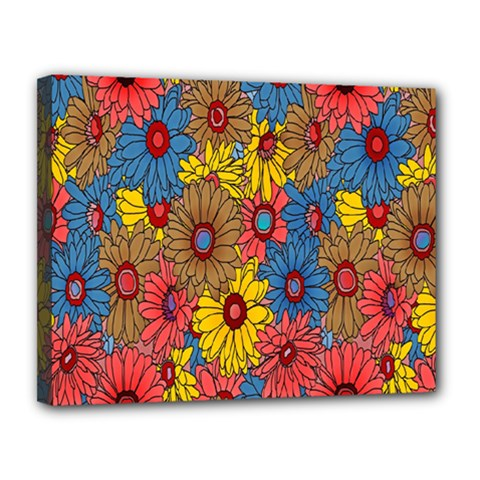 Background With Multi Color Floral Pattern Canvas 14  X 11