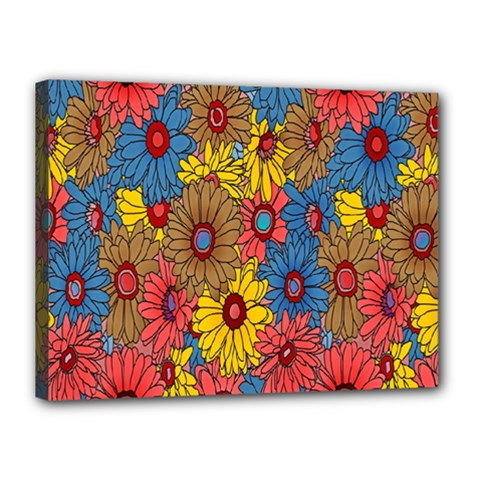 Background With Multi Color Floral Pattern Canvas 16  X 12  by Nexatart