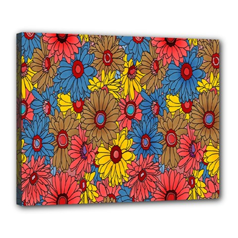Background With Multi Color Floral Pattern Canvas 20  X 16