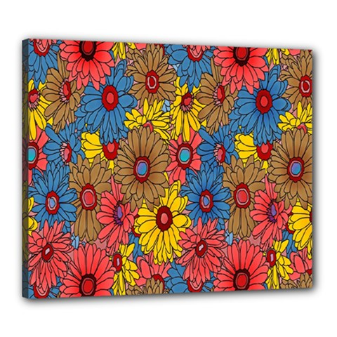 Background With Multi Color Floral Pattern Canvas 24  X 20