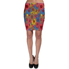 Background With Multi Color Floral Pattern Bodycon Skirt