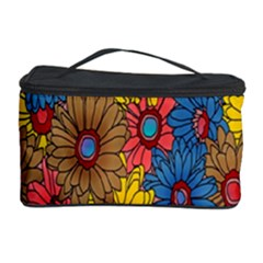 Background With Multi Color Floral Pattern Cosmetic Storage Case by Nexatart