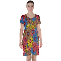 Background With Multi Color Floral Pattern Short Sleeve Nightdress