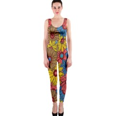 Background With Multi Color Floral Pattern Onepiece Catsuit