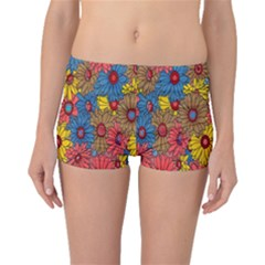Background With Multi Color Floral Pattern Boyleg Bikini Bottoms