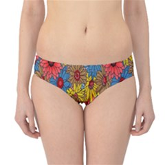 Background With Multi Color Floral Pattern Hipster Bikini Bottoms