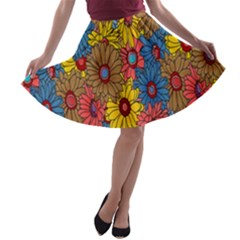 Background With Multi Color Floral Pattern A Line Skater Skirt