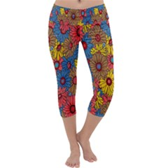 Background With Multi Color Floral Pattern Capri Yoga Leggings