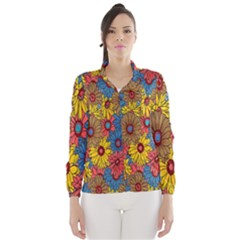 Background With Multi Color Floral Pattern Wind Breaker (women)