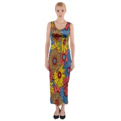 Background With Multi Color Floral Pattern Fitted Maxi Dress