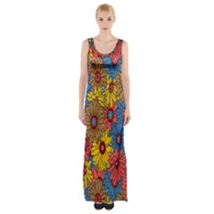 Background With Multi Color Floral Pattern Maxi Thigh Split Dress