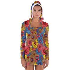Background With Multi Color Floral Pattern Women s Long Sleeve Hooded T Shirt