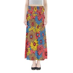 Background With Multi Color Floral Pattern Maxi Skirts