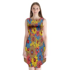 Background With Multi Color Floral Pattern Sleeveless Chiffon Dress