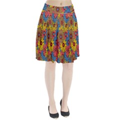 Background With Multi Color Floral Pattern Pleated Skirt