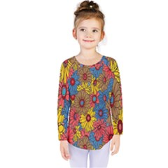 Background With Multi Color Floral Pattern Kids  Long Sleeve Tee