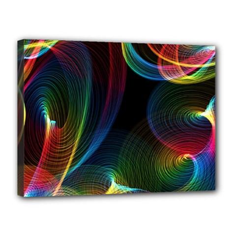 Abstract Rainbow Twirls Canvas 16  X 12  by Nexatart