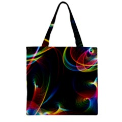 Abstract Rainbow Twirls Zipper Grocery Tote Bag by Nexatart