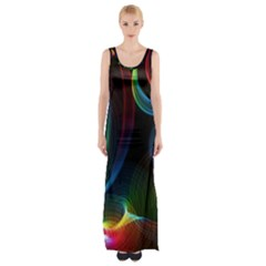 Abstract Rainbow Twirls Maxi Thigh Split Dress