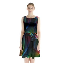 Abstract Rainbow Twirls Sleeveless Waist Tie Chiffon Dress
