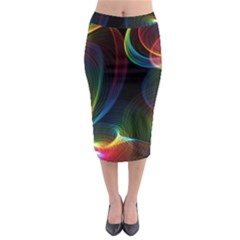 Abstract Rainbow Twirls Midi Pencil Skirt