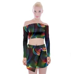 Abstract Rainbow Twirls Off Shoulder Top With Skirt Set