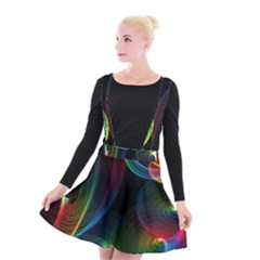 Abstract Rainbow Twirls Suspender Skater Skirt