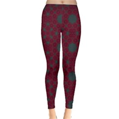 Blue Hot Pink Pattern With Woody Circles Leggings  by Nexatart