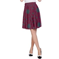 Blue Hot Pink Pattern With Woody Circles A Line Skirt