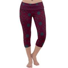 Blue Hot Pink Pattern With Woody Circles Capri Yoga Leggings