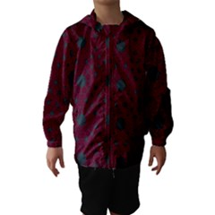 Blue Hot Pink Pattern With Woody Circles Hooded Wind Breaker (kids)