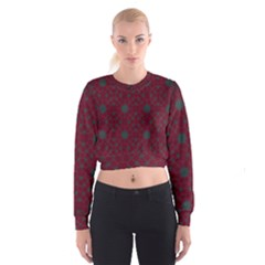 Blue Hot Pink Pattern With Woody Circles Cropped Sweatshirt