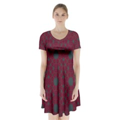 Blue Hot Pink Pattern With Woody Circles Short Sleeve V Neck Flare Dress
