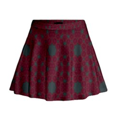 Blue Hot Pink Pattern With Woody Circles Mini Flare Skirt