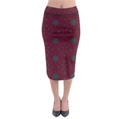 Blue Hot Pink Pattern With Woody Circles Midi Pencil Skirt