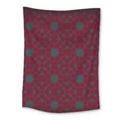 Blue Hot Pink Pattern With Woody Circles Medium Tapestry