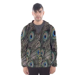Close Up Of Peacock Feathers Hooded Wind Breaker (men)