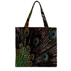 Close Up Of Peacock Feathers Zipper Grocery Tote Bag by Nexatart