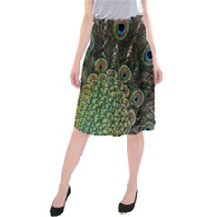 Close Up Of Peacock Feathers Midi Beach Skirt