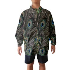 Close Up Of Peacock Feathers Wind Breaker (kids)